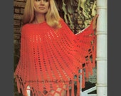 Vintage look Granny Square Crochet Poncho Pattern PDF 629 from WonkyZebra