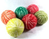 Wool Dryer Balls - Fruit Stripe Swirl - Second Variety - Set of 6 Eco Friendly - Can be Scented or Unscented