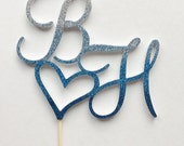 "Blue Monogram wedding cake topper, 6"" ombre glitter custom two initial cake topper, sapphire wedding, dark blue decoration choose your color"