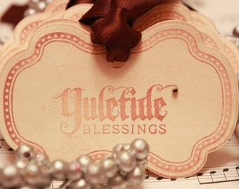 Christmas Tags (Doubled Layered) - Yuletide Blessings (A4) - Handmade Vintage Inspired Christmas Gift Tags - Set of 8