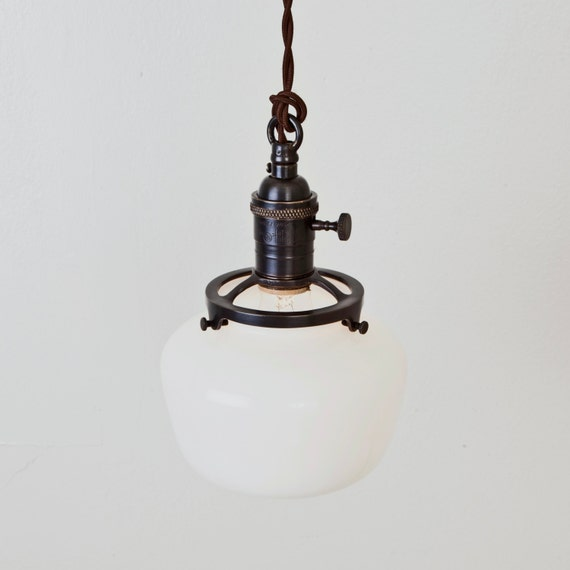 Pendant Light Schoolhouse Shade Switch Socket Hanging Light