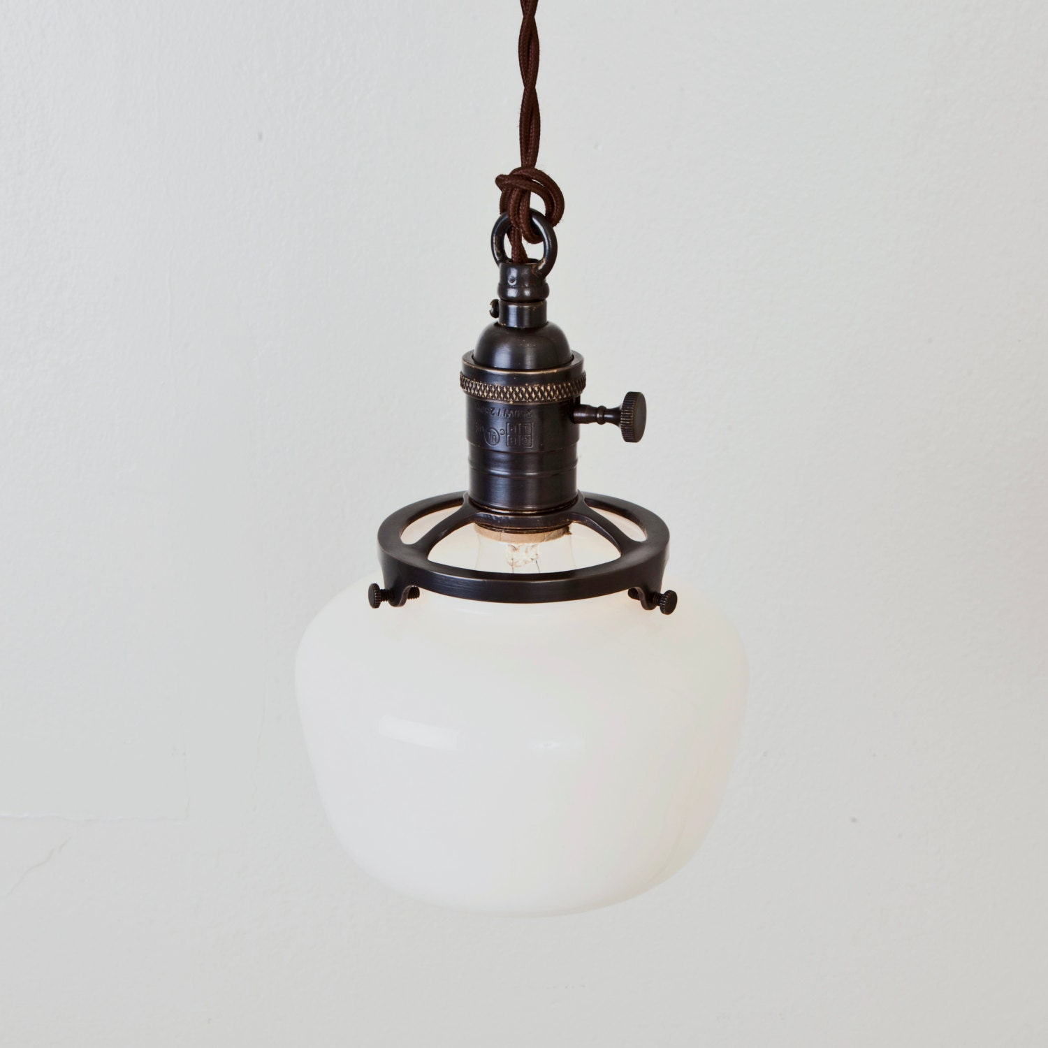 pendant light schoolhouse shade switch socket hanging light. Black Bedroom Furniture Sets. Home Design Ideas