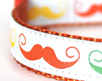 Curly Mustache Dog Collar / Adjustable Dog Collar / Hipster Ribbon Collar