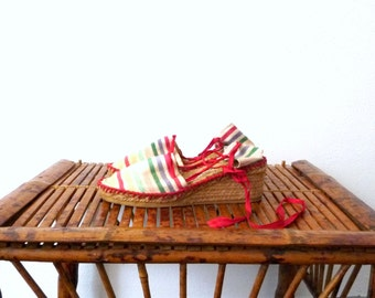 Striped Espadrilles Wedges FAUSTINO Vintage 1970s