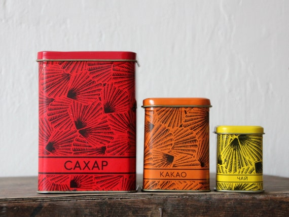 Beautiful tin canisters from Soviet Union, set of 3, nesting, for manna, baking soda and clove storage