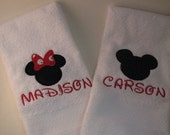 Disney Towels Minnie and Mickey Mouse Towels Custom Handtowels Applique Embroidered ADORABLE