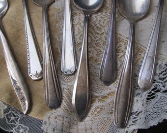 Lot of 8 Vintage Silver Plate Teaspoons - Assorted Patterns