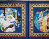 A Beautiful Silent Night Baby Jesus And Three Wise Men Metallic Christmas Holiday Fabric Panel Free US Shipping