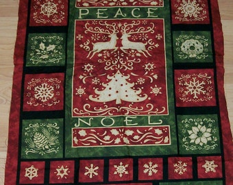 A Wonderful Christmas Noel And Peace Holiday Fabric Panel Free US Shipping by Susan Winget