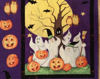 A Wonderful Halloween Happy Haunting Ghost Story Fabric Panel Free US Shipping