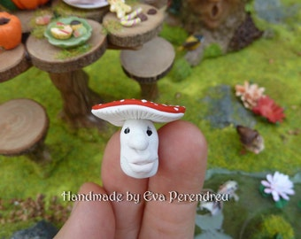 Miniature Faced toadstool with sad eyes for a Fairy Garden