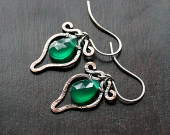 Green onyx dangle earrings, dark oxidized copper, wire wrapped, kelly green, textured, drop, gemstone, sterling silver, Mimi Michele Jewelry