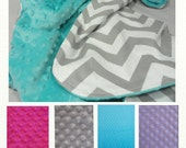 Custom LOVEY BABY Blanket Chevron Baby Blanket.Choose your Minky Color