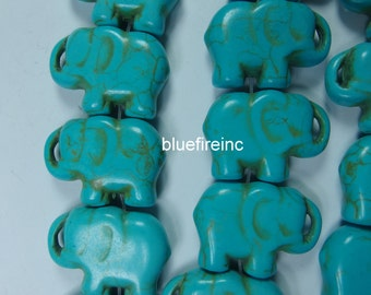 1 strand Howlite Stone Beads CARVED ELEPHANT, Blue Color 24X44MM