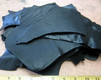 Cowhide Leather Scraps in  Black (LS27)