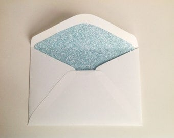 """Glitter effect lined envelopes / Envelope liners / digitally printed """"Glitter Effect"""" / Aqua / Turquoise / eco-friendly / Set of 10"""