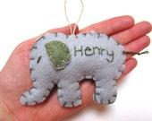 Personalized Elephant Ornament, Elephant Christmas Ornament, Felt Holiday Ornament, Custom Ornament