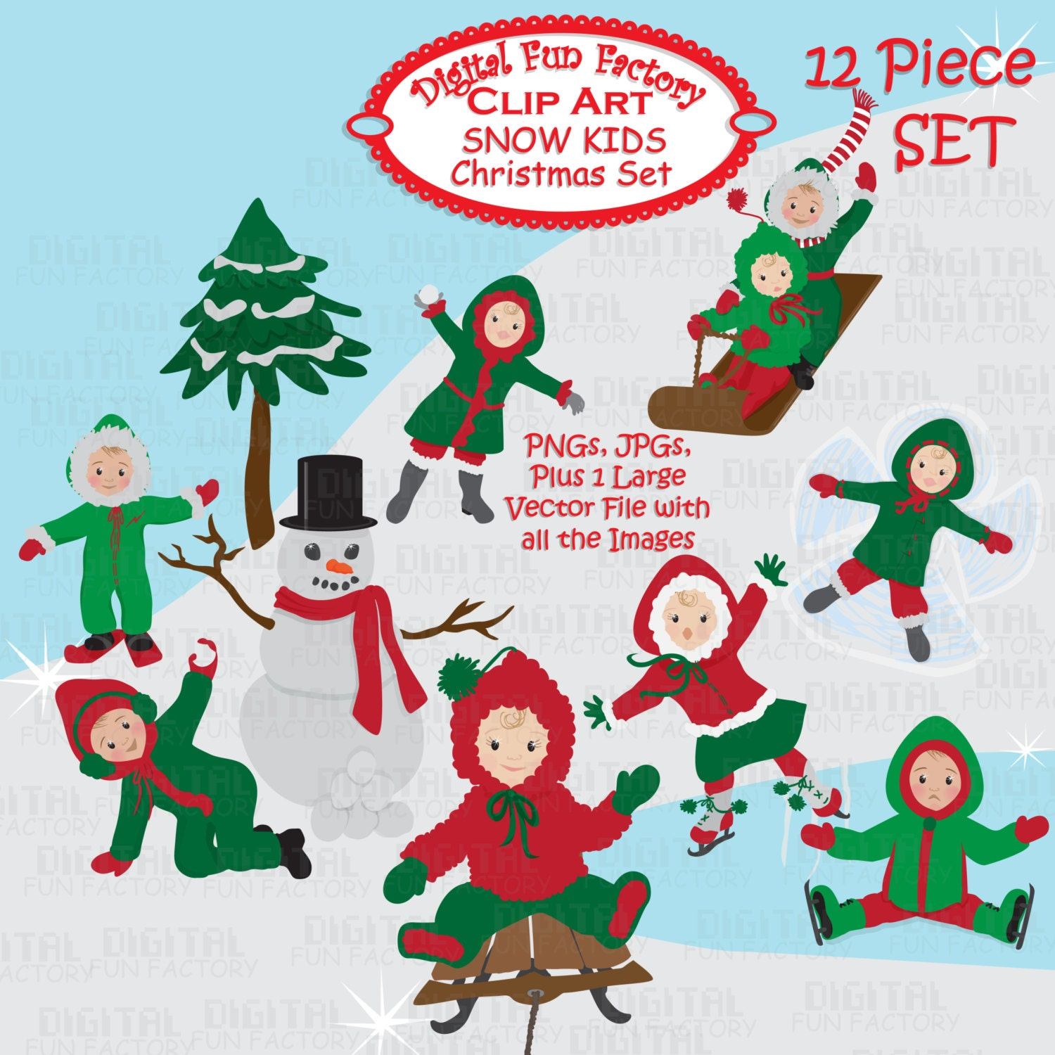 Christmas Clip Art: Winter Christmas Clip Art by DigitalFunFactory