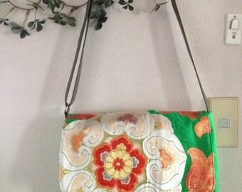 Obi /  Kimono / Bag / GR508 Gorgeous Big Flower Pattern Obi Messenger Bag Large Size