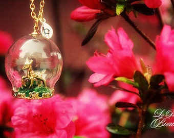 Bambi Deer in the Terrarium garden glass globe with initial necklace