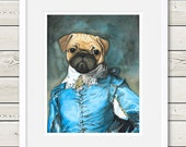 Pug Art - Pug Gainsborough Painting - pug painting, pug portrait, dog art, dog painting