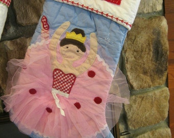 Personalized Ballerina Stocking Pottery Barn Quilted Stocking ---  Ballerina With LIGHT SKIN --- Free Monogram