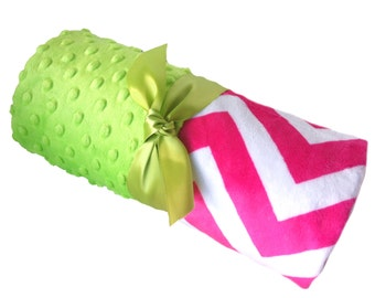 Personalized Baby Blanket Hot Pink and White Minky Chevron Baby Blanket with Lime Green Dot Minky Back Stroller Size
