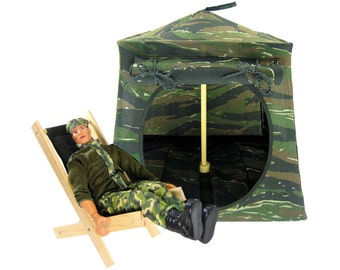 Toy Pop Up Tent, Sleeping Bags, brown, black, green camouflage print fabric