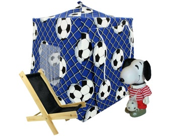 Toy Pop Up Tent, Sleeping Bags, royal blue, soccer ball print fabric for dolls, action figures or stuffed animals