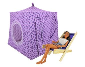 Toy Pop Up Tent, Sleeping Bags, light purple, rosebud print fabric for dolls, stuffed animals