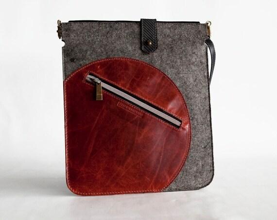 iPad case - Felt and leather padded sleeve - Orange and Grey - Free Shipping