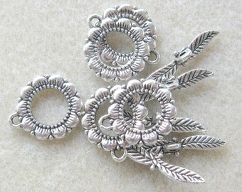 Toggle Clasps, Necklace Closure, Clasp Findings, Ring and Bar, Lead Free Pewter, Jewelry Findings, Fancy Toggle Clasp, Flower and Leaf,  (5)
