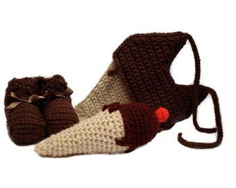 Chocolate Medium Brown Ice Cream Sweet Dessert Crochet Baby Booties, Baby Rattle, and Baby Bib Matching Set Fits Up to 9 Months Infant