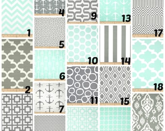 Custom Crib Bedding You Design   Bumper and Bedskirt in Mint and Gray