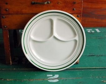 Buffalo China Divided Plate, 1960s Restaurant Ware, Green Stripe on White Diner Ware