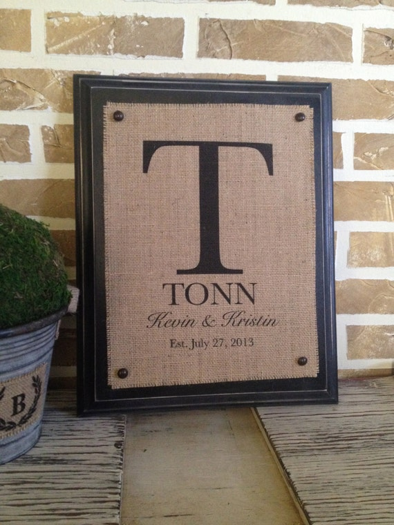 Rustic Burlap Wall Decor : Items similar to rustic decor personalized burlap wall