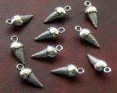 SALE, ICE Cream cone Charms x 10, antique silver tone, charm, UK seller, reduced, was 1.40, now only 1 pound while stocks last