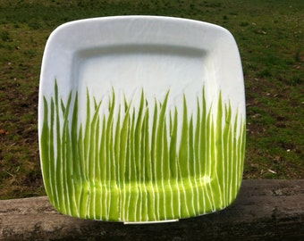 Green grass square original ceramic serving plate 12x12 inches by Jessica Howard Ceramics