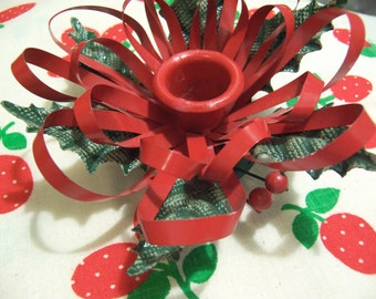 lovely tin holly candle holder