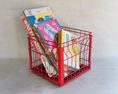 Vintage Red Wire Metal Milk Crate - Heavy Duty Stuff Stower with Loads of Industrial Charm
