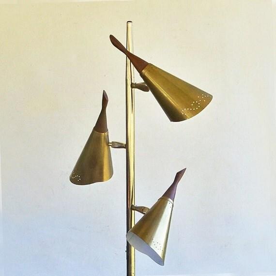 mid century modern 3 cone floor lamp pole lamp atomic. Black Bedroom Furniture Sets. Home Design Ideas