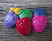 Chunky Strawberry Crayons / Recycled Party Favors / Set of 5 / Party Favors / Fun Kids GIft