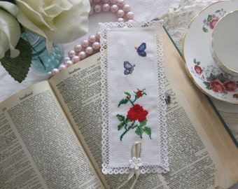 Victorian Butterflies and Roses Cross Stitch Book Mark-Free Shipping