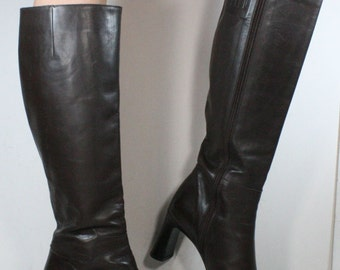 Vintage riding high heel women via spiga brown mid calf Leather fashion campus boots 8.5 M B
