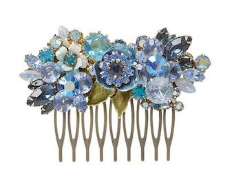 Repurposed vintage bridal haircomb - peacock blue wedding jewelry - bridal hair accessories - rhinestone haircomb - vintage collage style