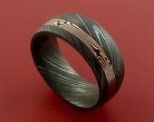 Damascus and 14k ROSE Mokume Gane GOLD Ring Custom Made SHAKUDO Style