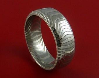 Damascus Steel Ring Stripe Pattern Wedding Band Zebra Look Any Size 3-22