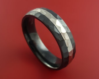Black Zirconium Hammered Band  Sterling Silver Inlay Ring Made to Any Sizing 3-22