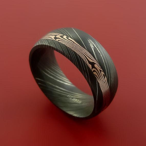 Mokume Gane Earrings: Damascus And 14k ROSE Mokume Gane GOLD Ring Custom Made
