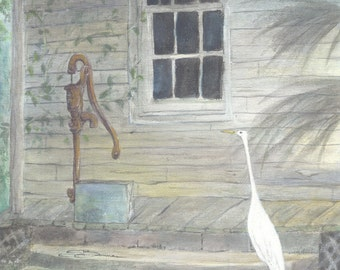 bird egret 8x10 acrylic painting original bowman The Pump whimsy wildlife florida